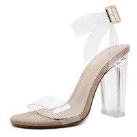 2017 Sandálias de Verão Estilo Romano 11 cm Mulheres Sapatos De Salto de Cristal Transparente Transparente sapatos de Salto Alto Bombas Tira No Tornozelo Sapatos de Damasco mulher