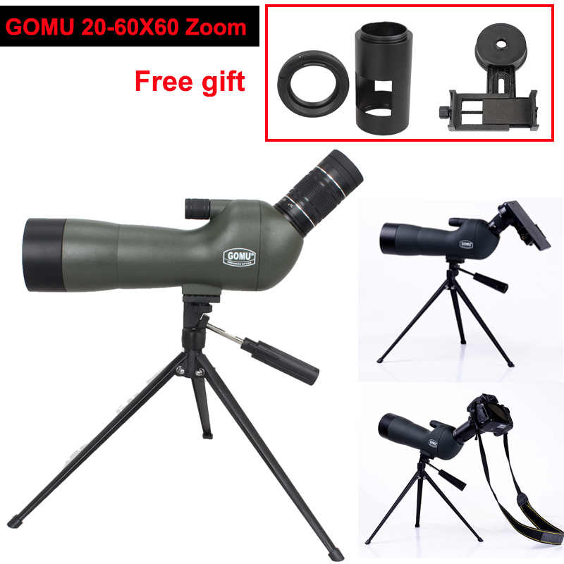 GOMU Waterproof Angled 20-60x60 Zoom Spotting Scopes With Tripod+Cell Phone Adapter+DSLR Camera Adapter+T-ring for Camera brand gomu 20 60x60 hd zoom high quality precision spotting scope telescope tripod connection mobile phone adapter bird watchin