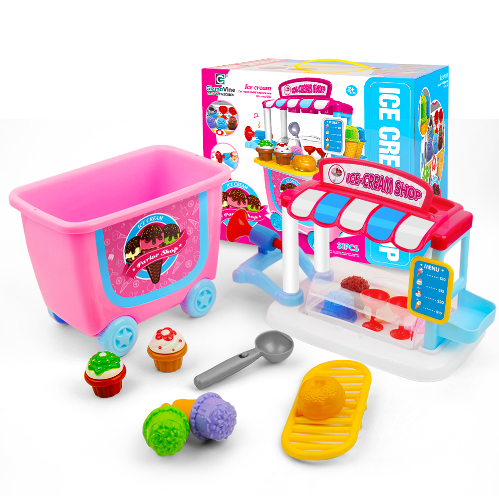 31pcs Ice Cream Shop Set Toys Kids Pretend Play Educational Cooking Tableware Sets Baby Simulation Happy Pretend Playing