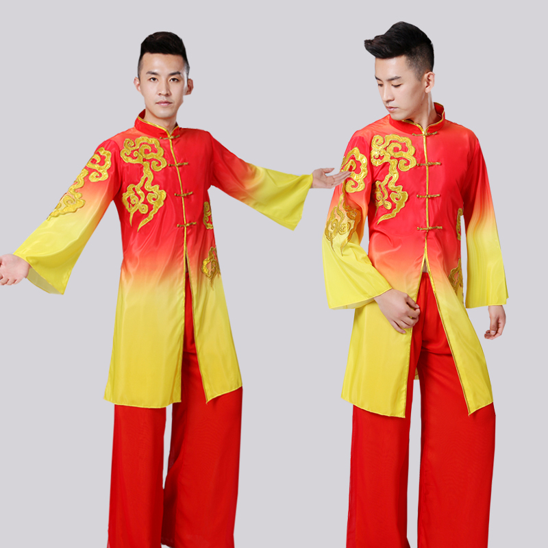 Chinese Folk Dance Customs Men Stage Performance Classical Show 2018 New  National Pattern Adult Long Gongfu Hanfu