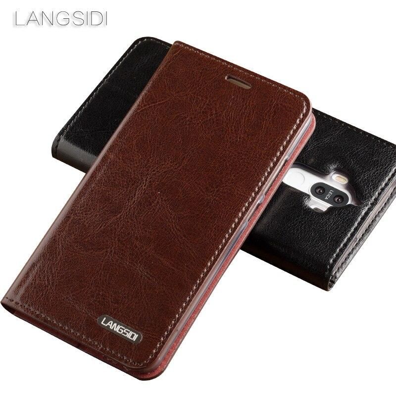 Wangcangli pour Xiao mi mi 5c coque de téléphone huile cire peau portefeuille flip Stand titulaire fentes pour cartes étui en cuir pour envoyer un film de verre de téléphone - 2