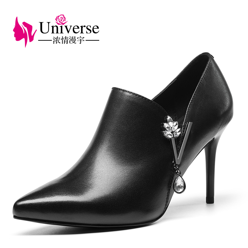 Universe Genuine Leather Woman Shoes Elegant Thin Heel Pumps Pointed Toe Crystal E312 creativesugar elegant pointed toe woman