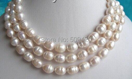 """W& O655>> КЛАССИЧЕСКИЙ 5"""" 11-13 мм белый baroquefreshwater ожерелье жемчуг"""