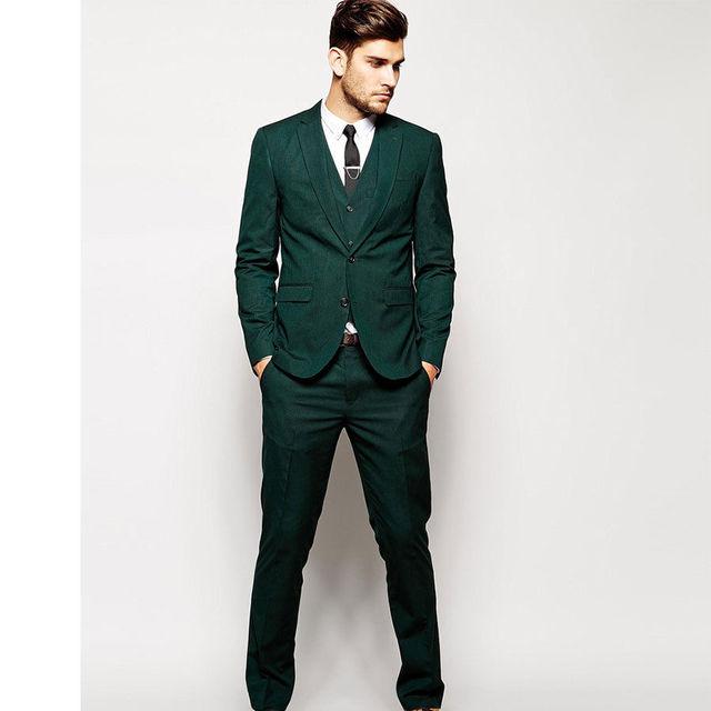 Handsome Dark Green Mens Suits Groom Tuxedos Groomsmen Wedding ...