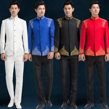 Chinese style embroidered suit male costume professional formal dress traditional tunic men