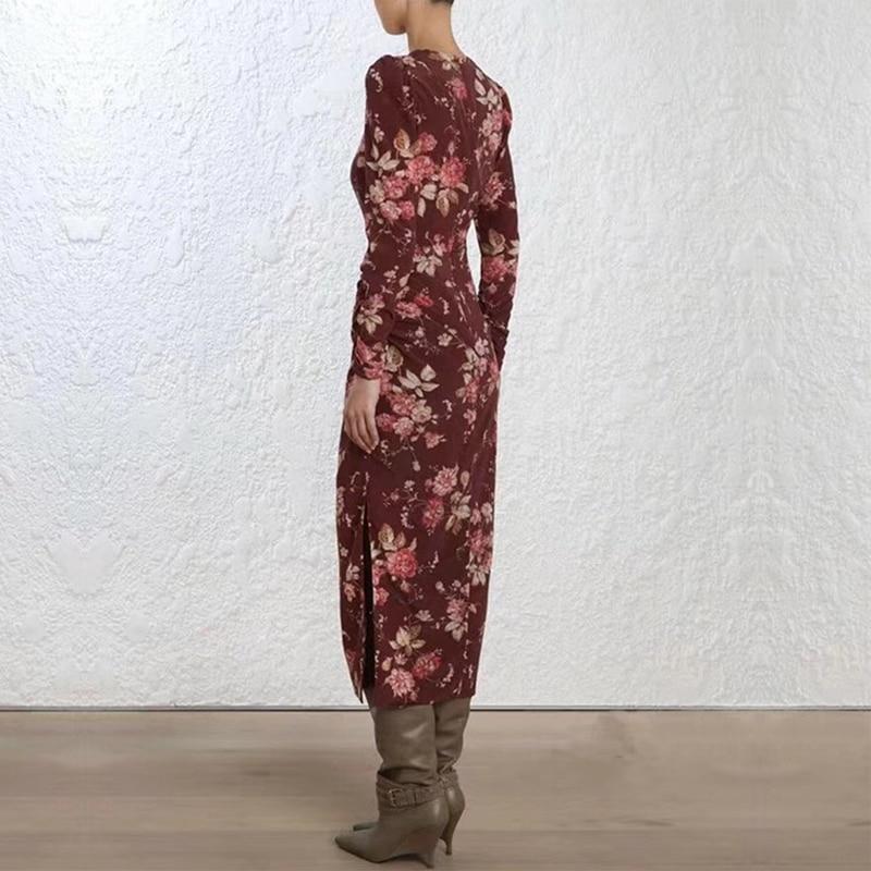 คุณภาพสูงรันเวย์ Designer Elegant Vintage ผู้หญิงชุดดอกไม้พิมพ์เอวบางเอวชุดยาวหญิงรีสอร์ท Holiday Party Vestidos-ใน ชุดเดรส จาก เสื้อผ้าสตรี บน   2