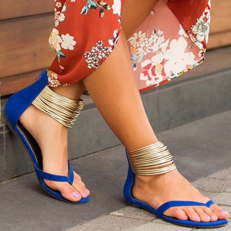 SARAIRIS 2019 big size 43 flat Sandals gladiator sandals leisure Womens Shoes Woman Metallic Embellished Flip Flops SandalsSARAIRIS 2019 big size 43 flat Sandals gladiator sandals leisure Womens Shoes Woman Metallic Embellished Flip Flops Sandals