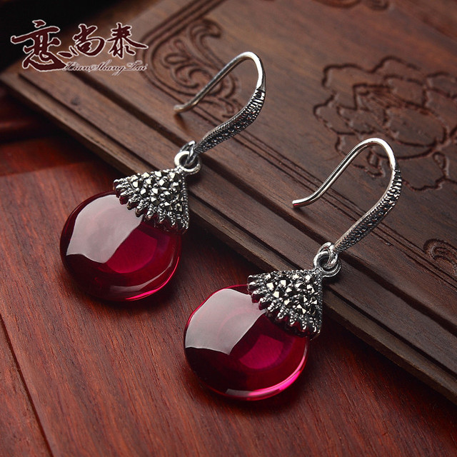 925 sterling silver earrings vintage red corundum sector water drop shape Natural semi-precious stones red lady girlfriend gift
