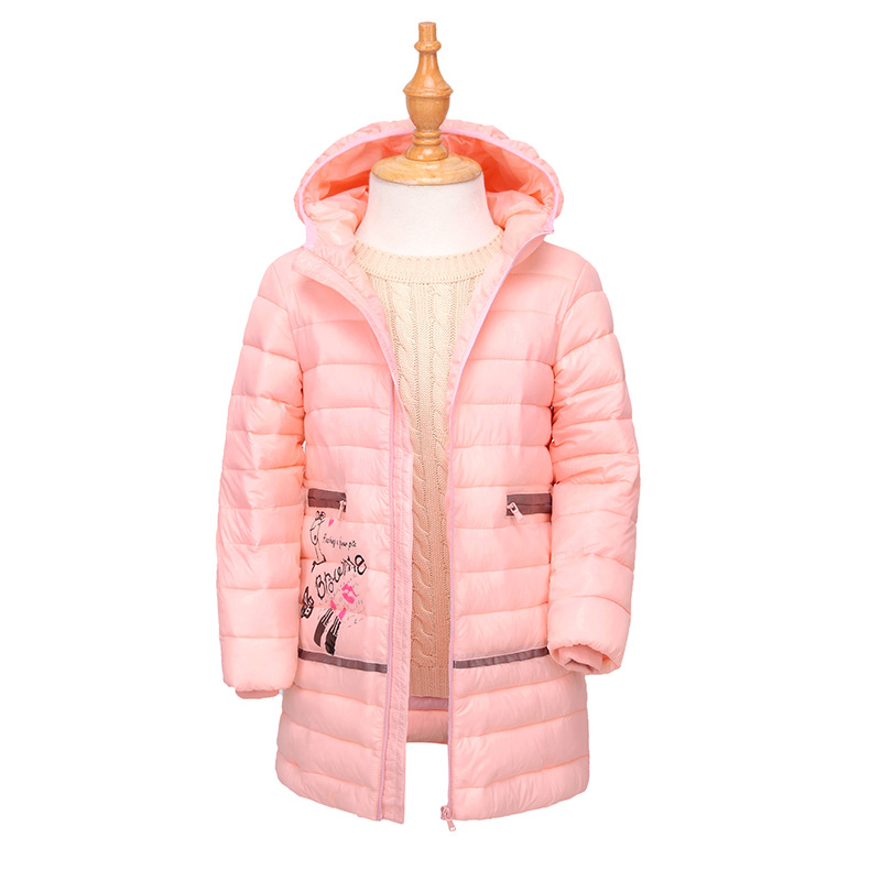 Baby Girls Down Jacket Long Winter Coat Children Overcoat Infant Outwears Girls Cotton-padded Jackets for 4-7 Years 2017 Newest teenage girls winter jackets children warming long camouflage coat outwears cotton padded hoode thick camouflage coat y846