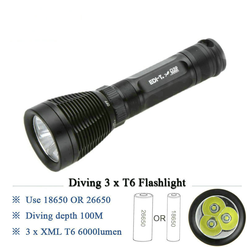 High Power Diving led flashlight cree xml 3t6 under water lamp IPX8 Scuba lantern 18650 or 26650 battery torch linternas