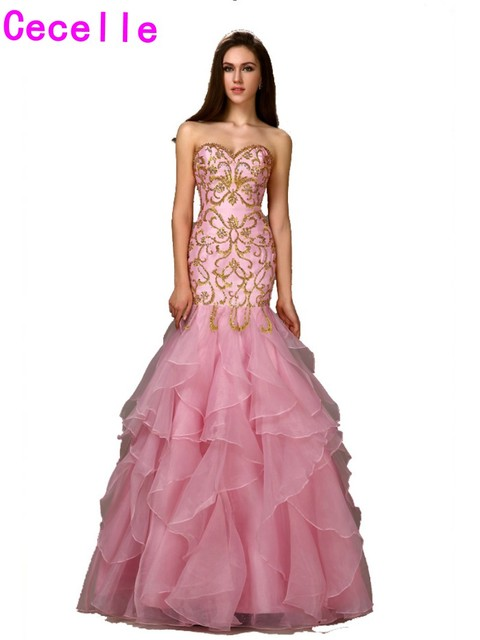 3f8f4842c958 Real Pink Gold Long Mermaid Fitted Prom Dresses Long 2019 Embroidery Beaded  Ruffles Organza Girls Formal Evening Prom Gowns