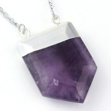Natural Amethyst Gem Stone Royal Shield Double Hook Pendant Charms Point Healing Chakra Amulet Jewelry 10pcs/lot