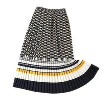 Весенне-осенняя клетчатая модная женская однотонная плиссированная эластичная юбка средней длины с высокой талией Женская Черная розовая# B