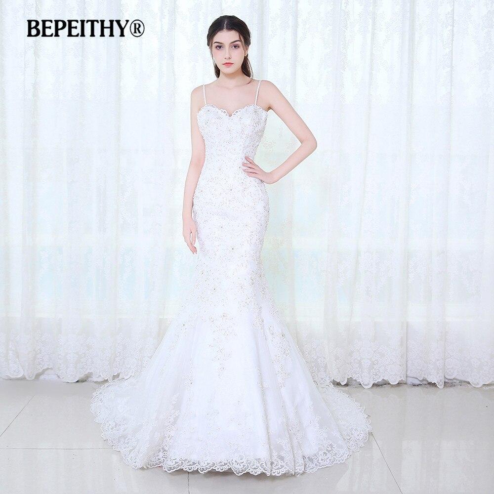 BEPEITHY Sexy Dos Nu Robe De Mariée Sirène Robe De Mariée 2017 Dentelle Bretelles Spaghetti Nouvelle Robes De Mariée Casamento
