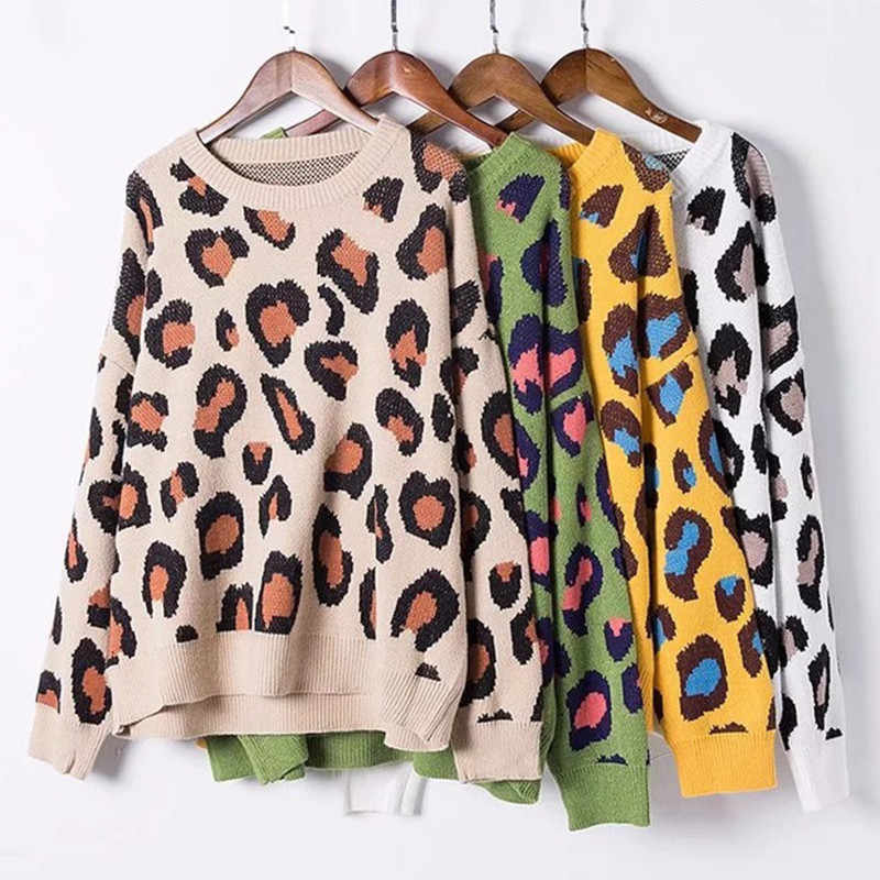 New Women Knitted Colored Leopard Printed Sweater O-neck Fashion Casual Autumn Winter Loose Pullover Female Sweater Q317