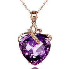 2018 Fashion Heart-shaped Design Amethyst Pendant 18K Gold Necklace Charm Women Wedding Party Gift Jewelry Packaging Exquisite