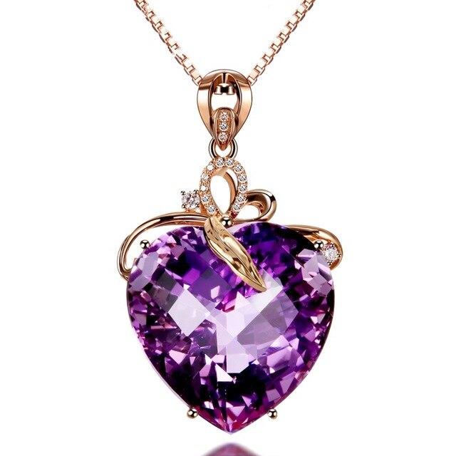 Collar con colgante de amatista en forma de corazón para mujer, collar de oro rosa, joyería, amuleto, joyería fina para fiesta de boda