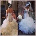 Robe De Mariee 2017 Fotos Reais Africano Estilo Sexy Mais tamanho Sereia Vestidos de Casamento Com Rendas Apliques Vestido De Noiva Sereia