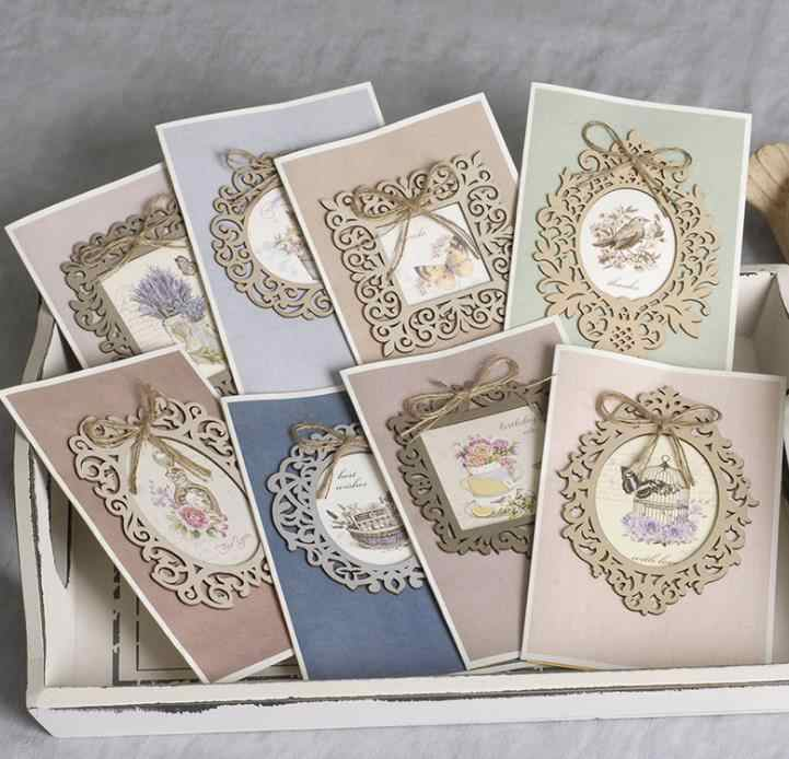8pcs wooden lace frame Decorative Vintage Scrapbooking Pads Paper Origami Cutting Dies Art Background Card Making