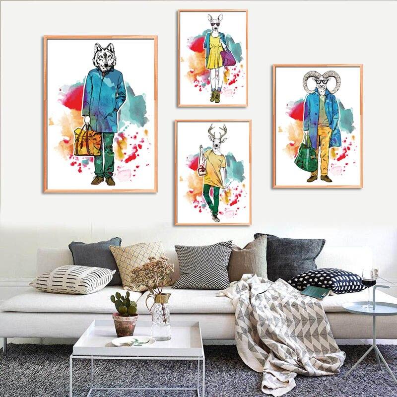 4489cd6c29 Veados Girafa Animais Cavalo da forma da Aguarela Pintura Da Lona Retratos  Da Parede Para Sala de estar Da Lona Decoração de Casa Sem Moldura