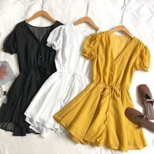 Summer Women Casual Polka Dot Short Jumpsuits Loose Puff Sleeve V-Neck Beach Rompers High Waist Drawstring Playsuits Overalls white stripe pattern roll neck long sleeves drawstring waist playsuits