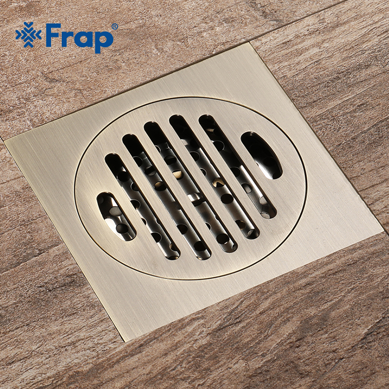 Frap Waste Antique Floor Drain 10cm Square Shower Brass Floor Drain Stripe Linear With Hair Strainer Shower Accessories Y38074 shower drain 10cm 10cm push down pop up drain strainer chrome brass square drainer floor drain waste grate bath accessories 8608