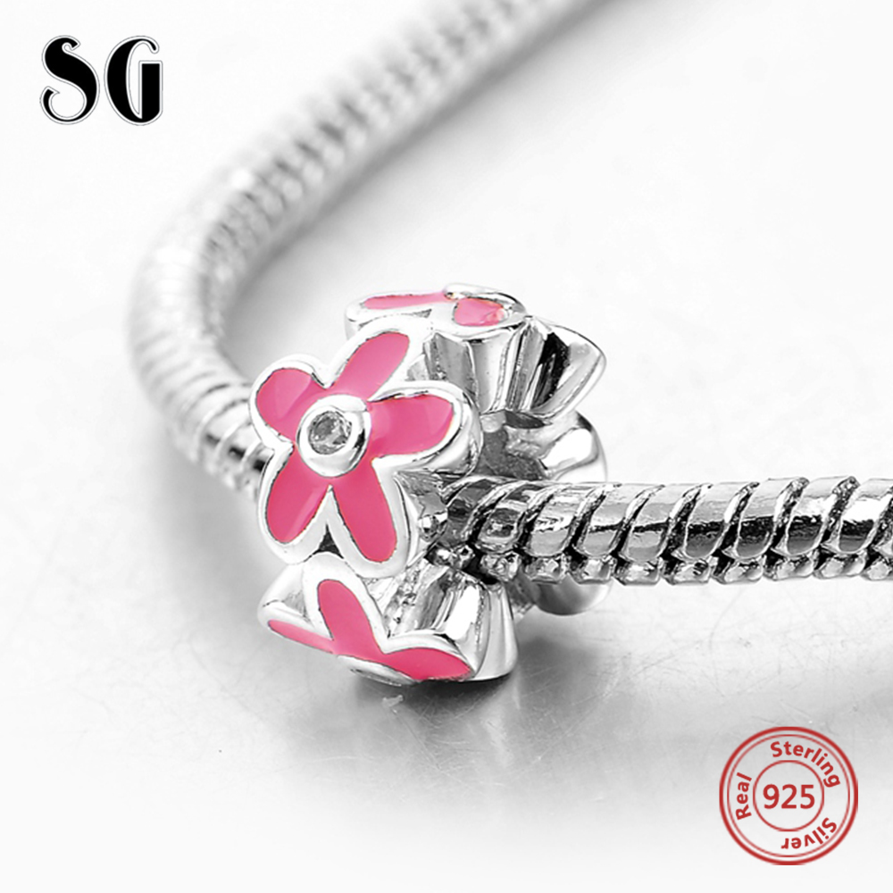 Fit Authentic Pandora Charms Bracelet Silver 925 Original Pink Flower Cubic Zirconia Pendants Beads For Women Fashion Jewelry