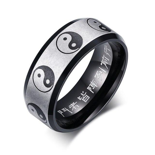 Кольцо инь янь нержавеющая сталь