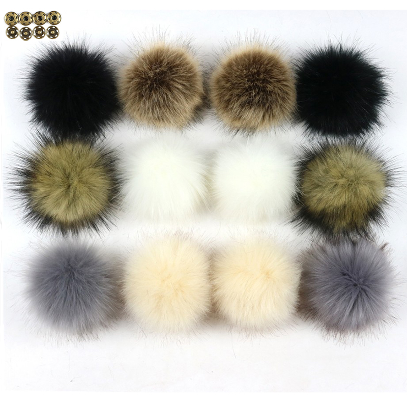 1pc Fluffy Faux Fur 10cm/12cm Pom Pom Ball with Press Button DIY Artificial Pompom for   Beanie     Skullies   Cap Accessories Wholesale