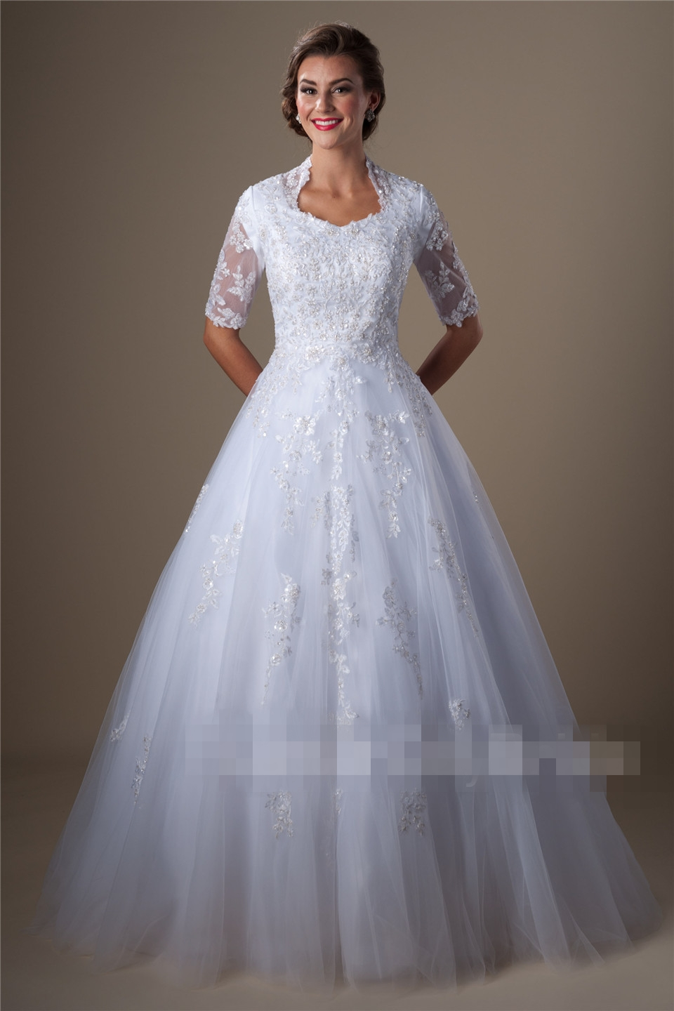White dress for church - White Ball Gown Modest Wedding Dresses With Half Sleeves Beaded Lace Dress Princess Church Bridal Gowns Formal Custom Made