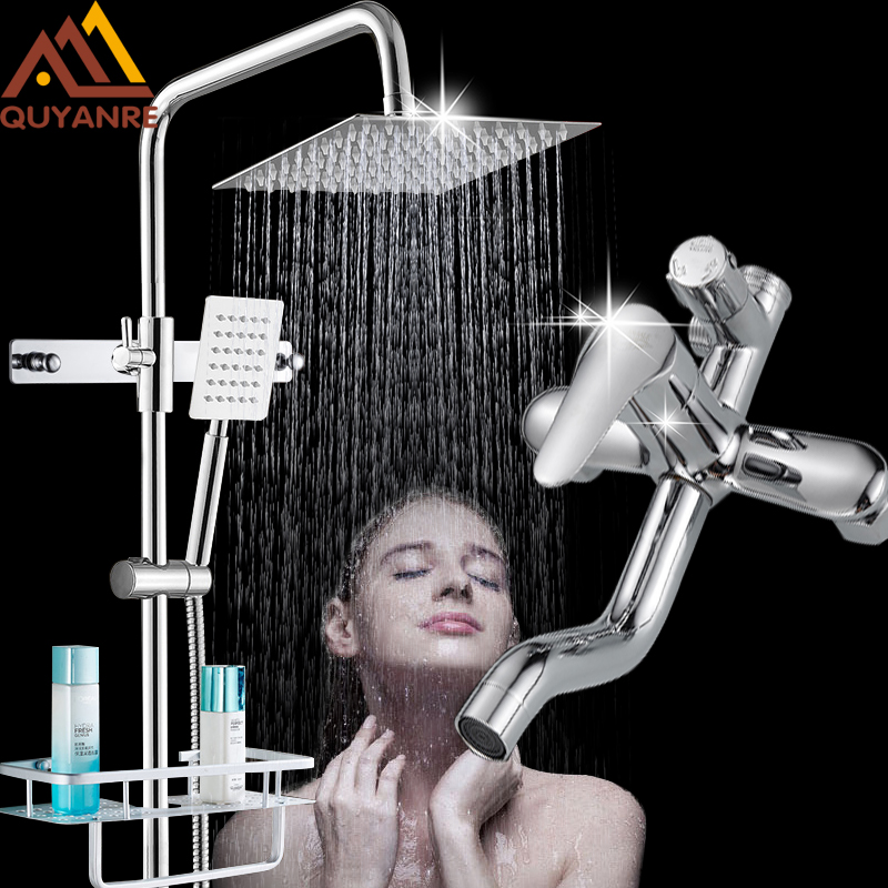 Quyanre Chrome Shower Faucet With Hook Commodity Shelf Bath Shower Mixer Shower Torneira Tap Wall Mount Rainfall Shower Mixer quyanre antique brass shower faucets set 8 rainfall shower head commodity shelf handle mixer tap swivel tub spout bath shower
