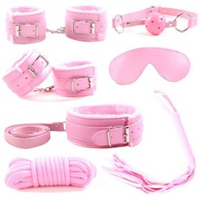 7pcs/set PU Leather Sex Bondage Set Toy Restraint Sex Toy Handcuffs Tied Rope Whip Collar Erotic Toy