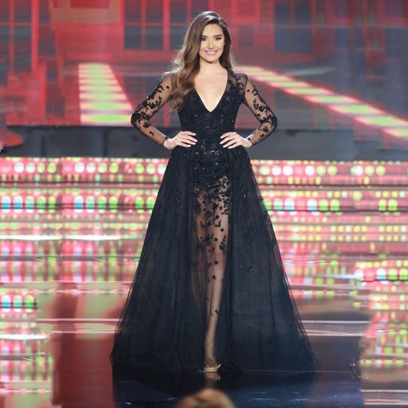 Prom Dress With Detachable Train: Black Long Sleeve Lace Prom Dresses Detachable Train