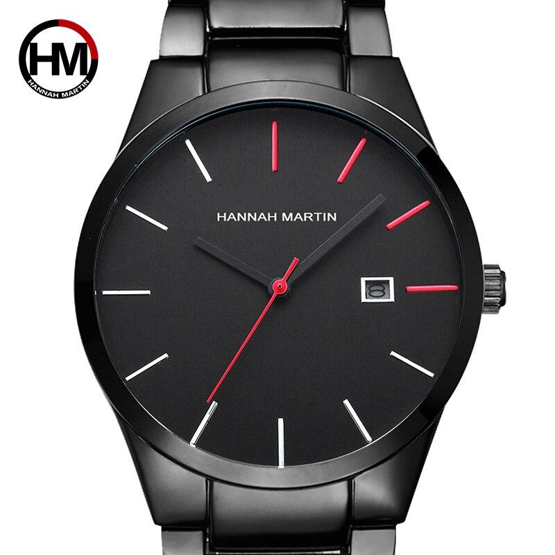 2018 relógio de Quartzo Criativo Voga Vermelho & Preto de Aço Inoxidável Banda Homens de Negócios Top Marca de Luxo Relógios De Luxo À Prova D' Água Dropshipping