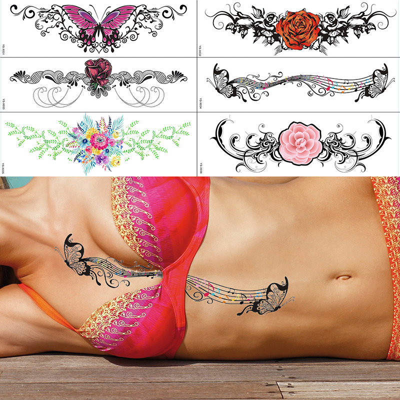 Beach Holiday Sexy Fake Tattoos On Body Bosom Sternum Bust Waterproof Temporary Tattoo For Bikini Girls Women Trendy Pattern Big