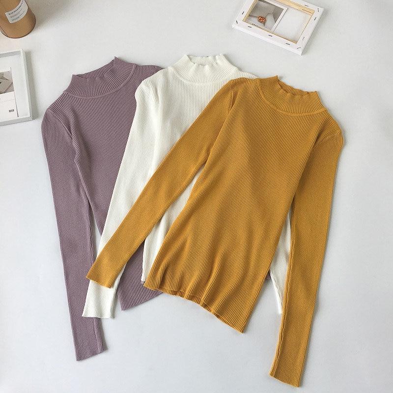 2018 de alta calidad de moda Primavera Otoño e Invierno suéter de punto de mujer cuello suéteres de las mujeres suéteres sólidos Jersey