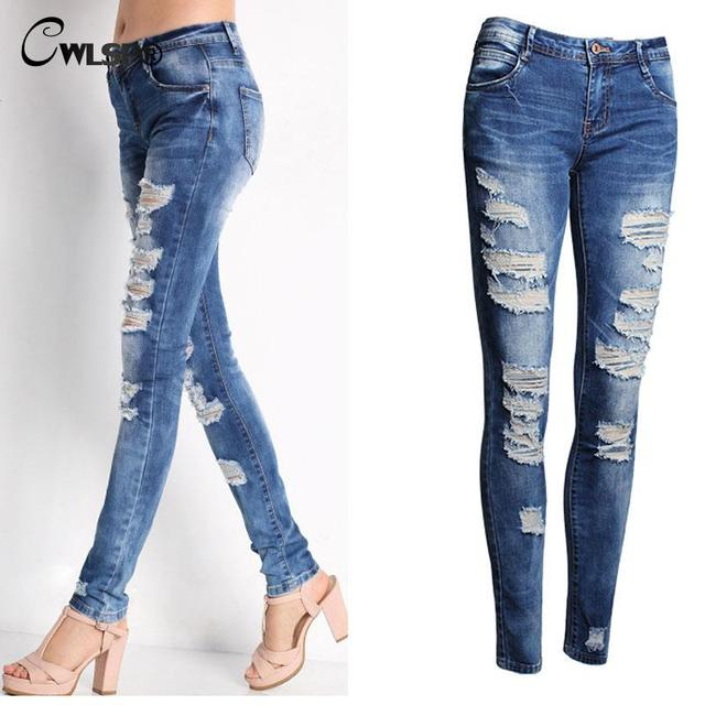 2016 Hot Sale Summer Mid Waist Women Pants Casual Ankle-Length Ripped Jeans For Woman Capris Female Jeans Pencil Pant QL2393