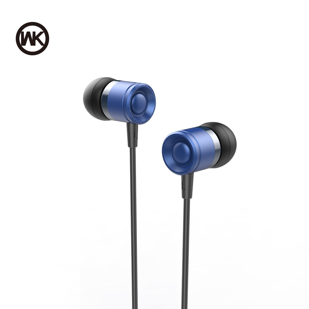 WK Wired Metal Music Earphone Stereo Bass Headphone Precise Sound 3.5mm Colorful Headset With HD Mic Earbuds For Samsung/Xiaomi