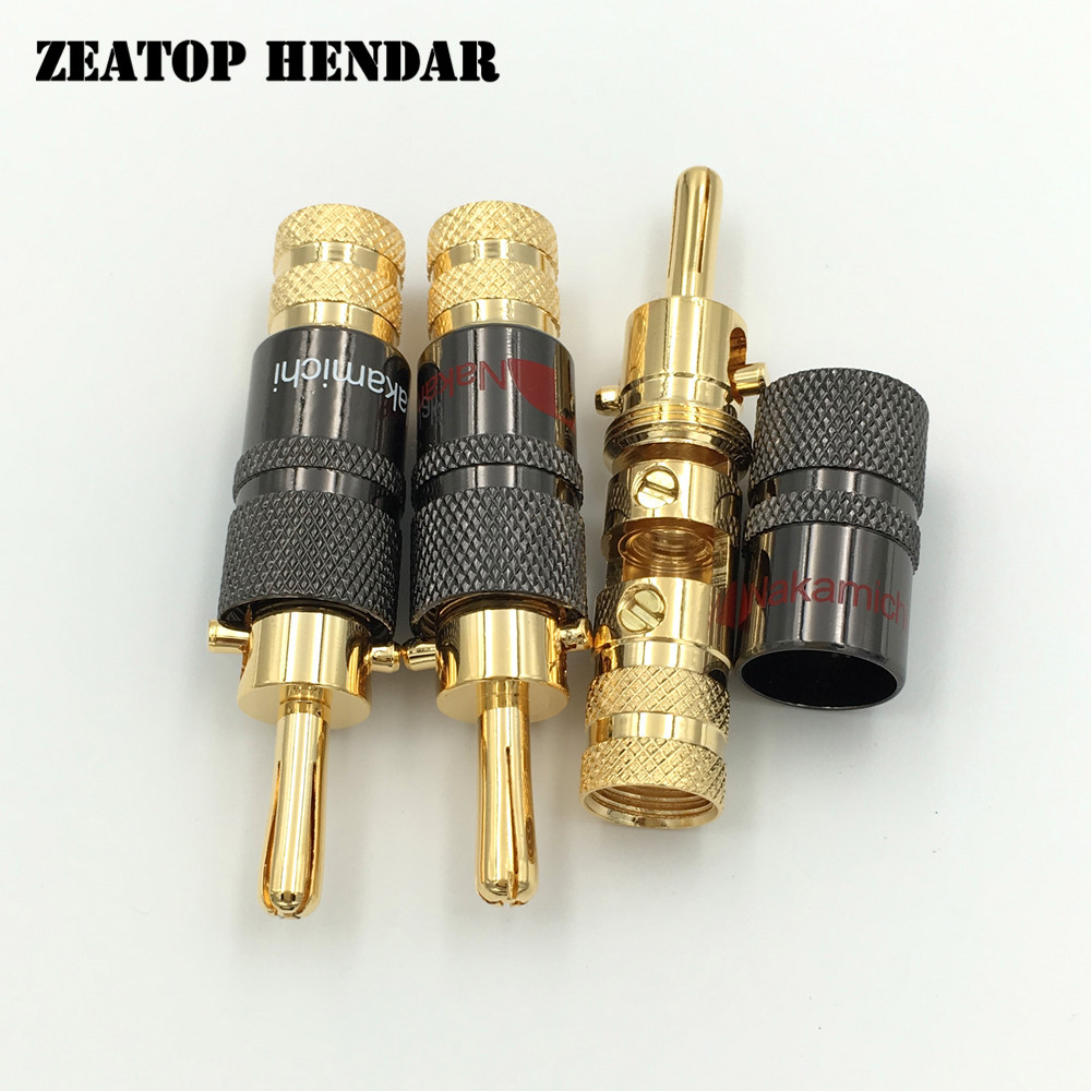 4Pcs High Quality New Copper Nakamichi Speaker Cable Banana Plug With Lock Speaker Amplifier Connector