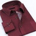 Primavera de los nuevos hombres camisas de manga larga de lunares imprimir hombres camiseta de moda marca de clothing ropa casual hombre sim camisa de vestir mcl025