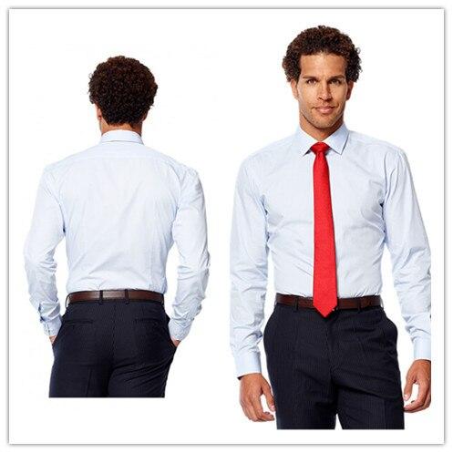 Новое поступление Летний стиль 100% хлопок классический светло-голубой цвет с вытачками сзади рубашка на заказ