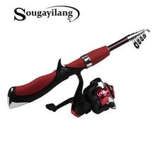Sougayilang Outdoor Supplies Portable Fishing Rod Spinning Fishing Reel Tools Tackle Fishing Rod and Reel Combo Kit Set