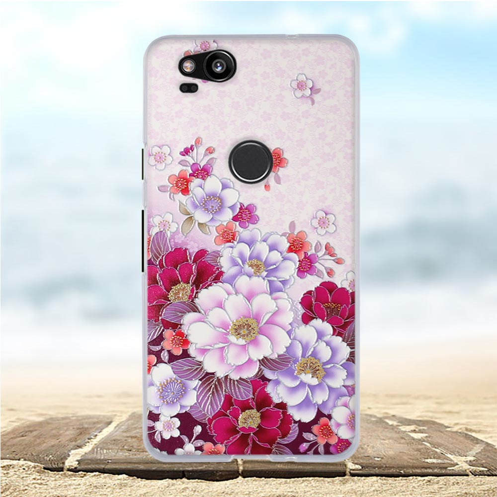 3D Flower For Google Pixel 2 Case Silicone Soft TPU Slim Cover For Funda Google Pixel 2 Case Cover For Google Pixel 2 Cover