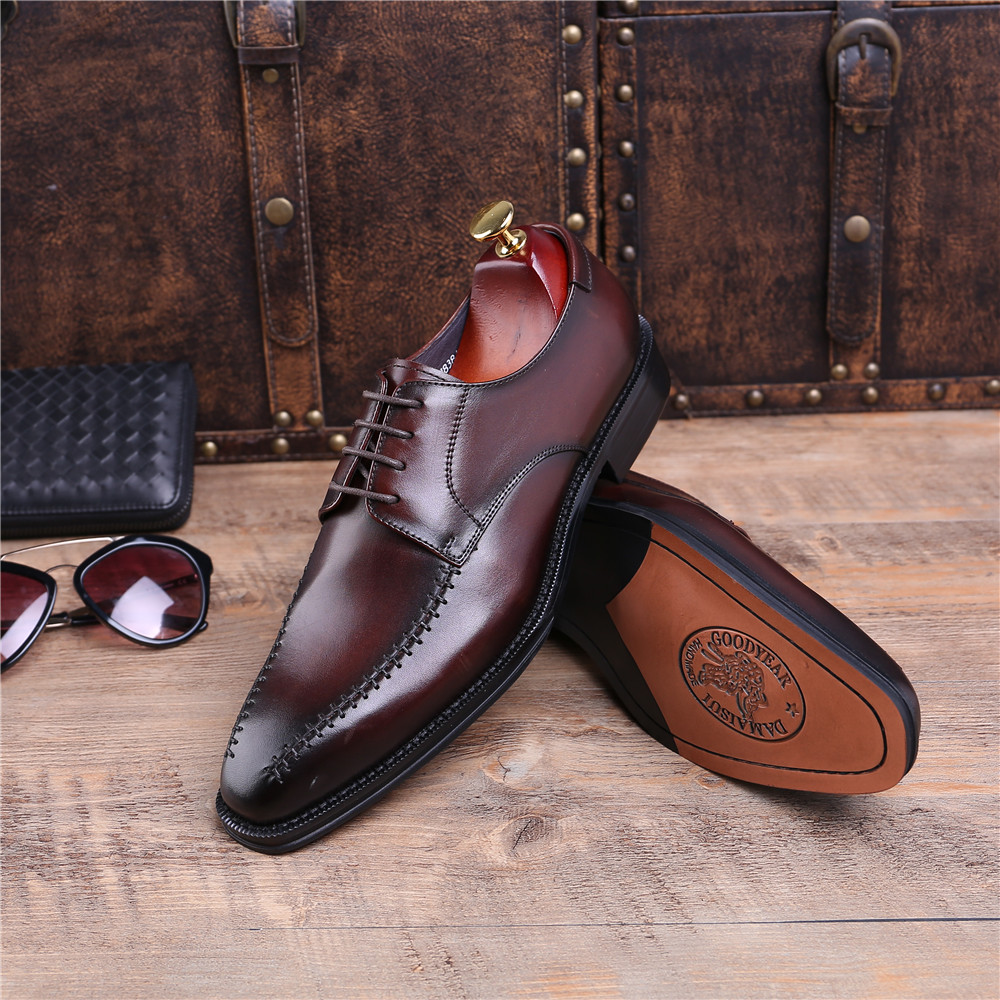 Brown tan   black pointed toe business shoes mens dress shoes genuine  leather Goodyear Welt shoes mens wedding shoes - aliexpress.com - imall.com 4c2776aa4946