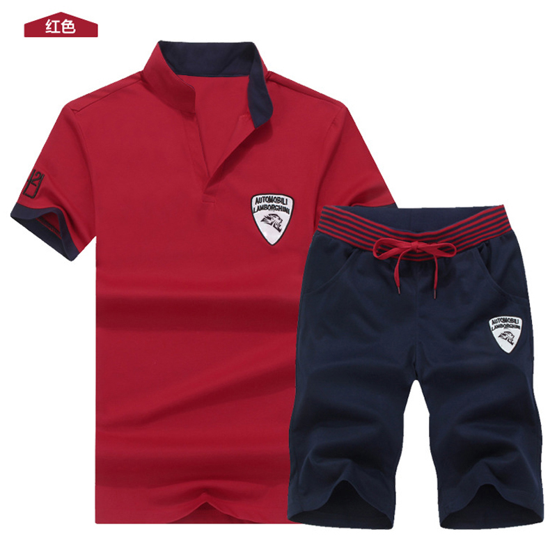 Two Piece Set Men Short Sleeve T Shirt Cropped Top+Shorts Men's Tracksuits 2019  New Causal Sportswear Tops Short Trousers 3