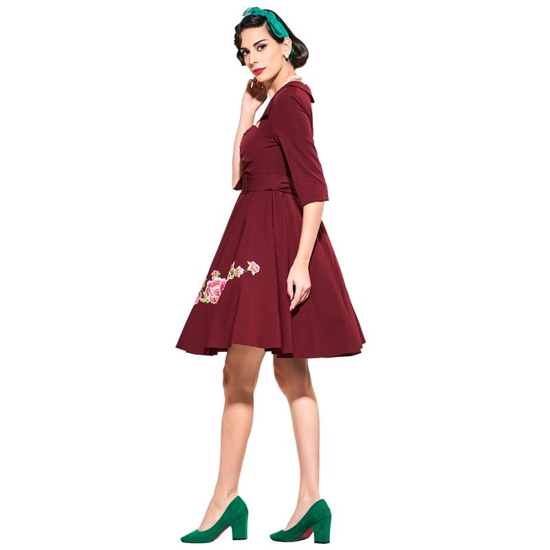 Tidetell rojo vestidos de coctel elegantes 2017 bordado floral mujer primavera v