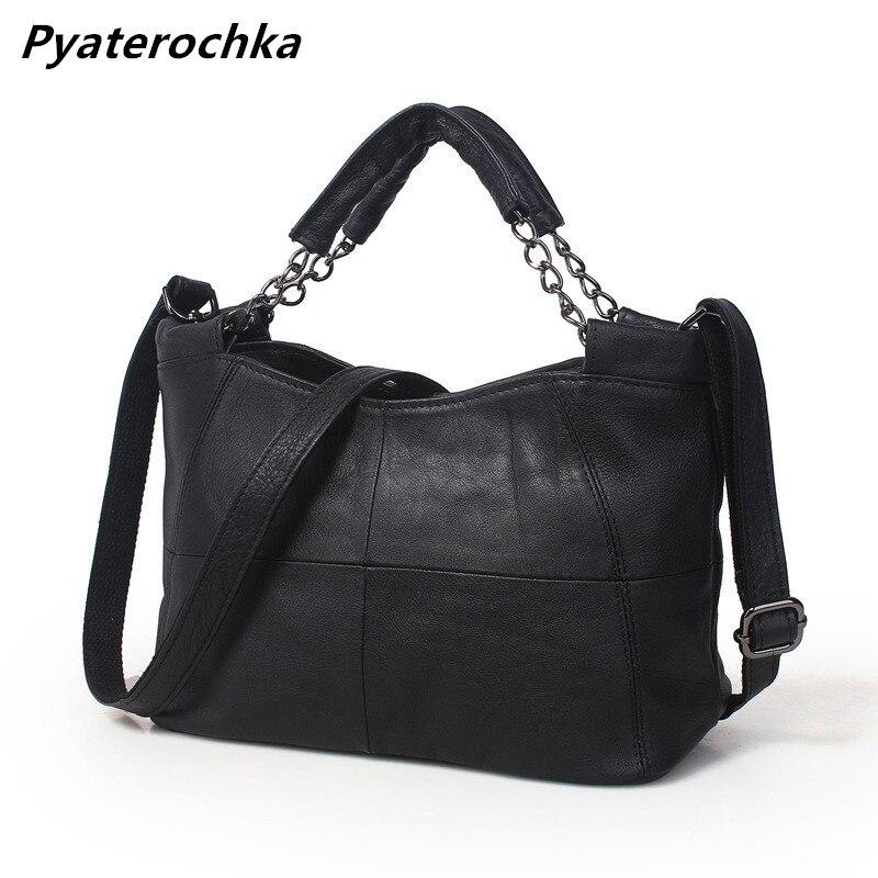 Pyaterochka Ladies Real Leather Handbags Patchwork Bucket Solid Luxury Crossbody Bag Fashion Women 2018 High Quality Small Totes triangle print patchwork organizer bucket