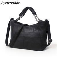 Pyaterochka Ladies Real Leather Handbags Patchwork Bucket Solid Luxury Crossbody Bag Fashion Women 2018 High Quality Small Totes