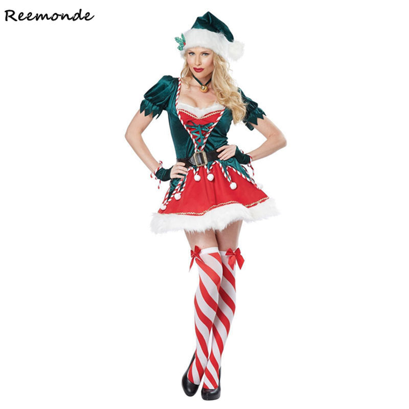 Christmas Santa Claus Cosplay Costume Green Elf Fancy Dress Suit Party Halloween Deluxe Outfit For Couples Adult Women Girls