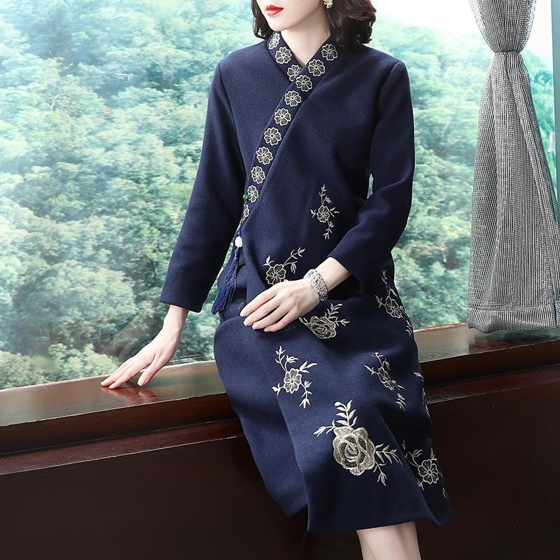 Rot Schwarz Robe Vintage Femme Herbst Mode Lange Kleid Ethnische Stickerei Vestido Lange Hülse Lose Beiläufige Kleid Cheongsam AA4563 - 2